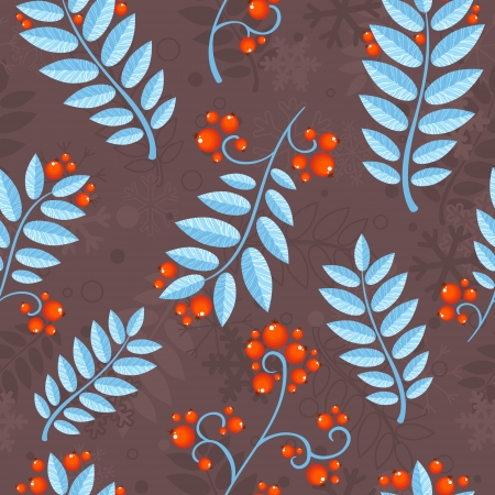 blue berry: Floral seamless pattern with winter ash berry and blue leaves Illustration
