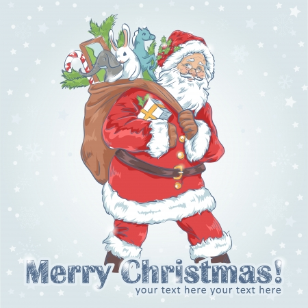 Christmas Santa Claus vintage postcard with cheerful old man with sack of presents Vector