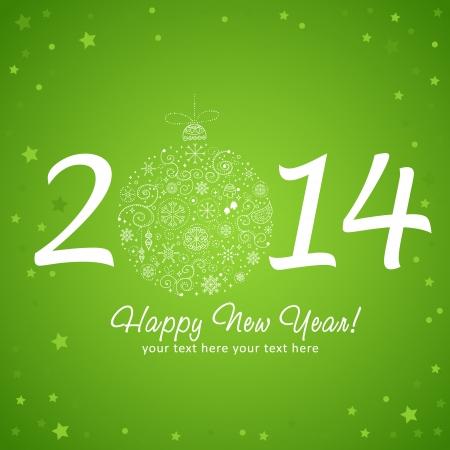 stylized design: 2014 biglietto di auguri di nuovo anno felice con il disegno stilizzato palla di albero di Natale giocattolo fatto di stelle e fiocchi di neve