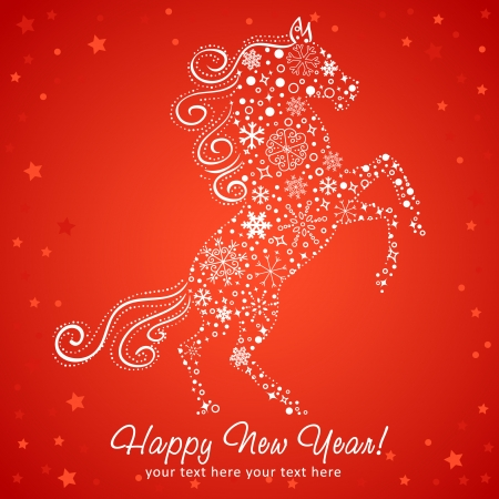 chinese new year card: Stylized chinese New Year card of Horse made of snowflakes Illustration