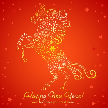 Stylized chinese New Year card of Horse made of snowflakes Vector