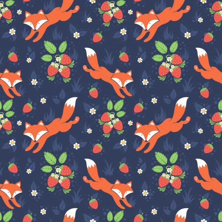 seamless tile: Cute foxes and wild strawberries forest seamless pattern Illustration