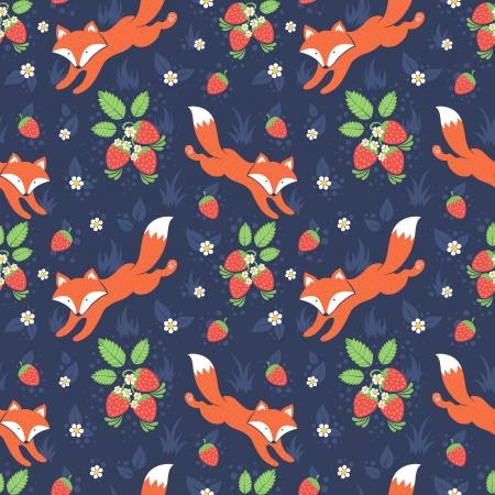 abstract illustration: Volpi svegli e fragoline di bosco foresta seamless pattern