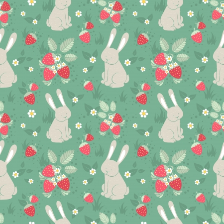 hare: Cute rabbits and wild strawberries forest seamless pattern