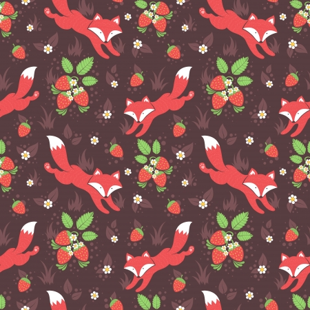 Cute foxes and wild strawberries forest seamless pattern  イラスト・ベクター素材