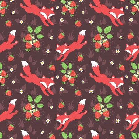 Leuke vossen en wilde aardbeien bos naadloze patroon