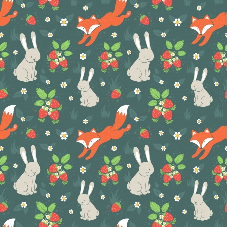 wild rabbit: Cute rabbits and fox with wild strawberries forest seamless pattern