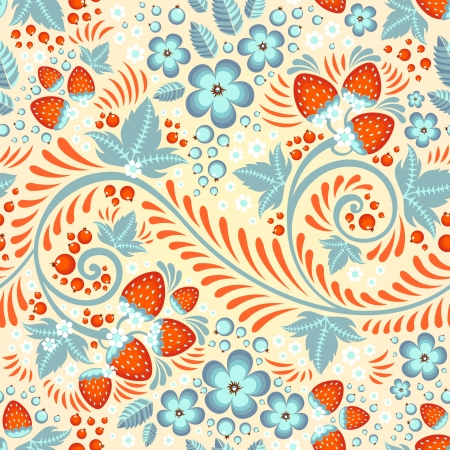 russian culture: Festive khokhloma seamless pattern with traditional floral elements - berries and leaves