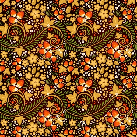 Festive khokhloma seamless pattern with traditional floral elements - berries and leaves