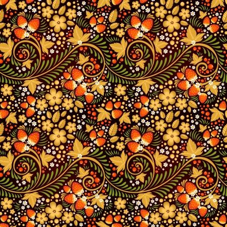 Festliche khokhloma nahtlose Muster mit traditionellen floralen Elementen - Beeren und Blätter Standard-Bild - 24233362