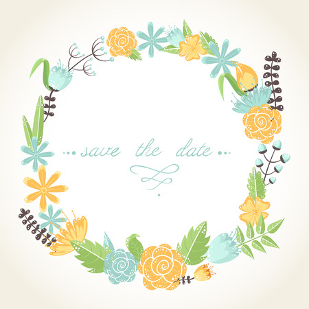 Elegant floral congratulation card for wedding and birthday invitations Vector