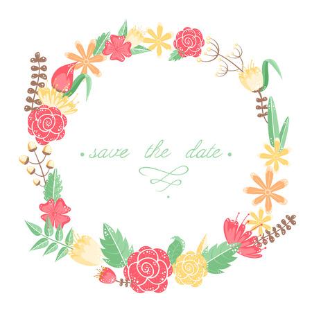 Elegant floral congratulation card for wedding and birthday invitations Illustration