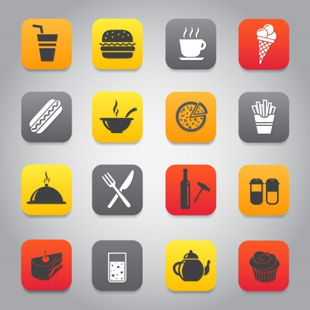 Flat and stylish design icon set with fast food, dining, restaurant theme Vector
