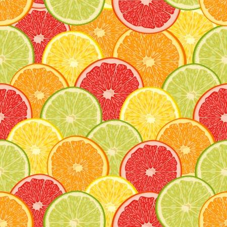 新鮮なカラフルな柑橘系の果物、オレンジ、レモン、グレープ フルーツ、ライムとシームレスなパターン