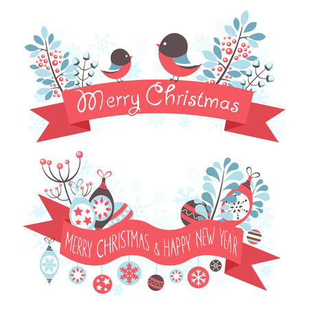 Elegant Christmas greeting banners with decorative winter elements - snowflakes, bullfinch birds and toy baubles Vector