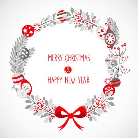 Dekorative Weihnachtskranz Feier Postkarte mit traditionellen Winter Elemente - Blumenzweige, Schneeflocken und Kugeln Standard-Bild - 24395958