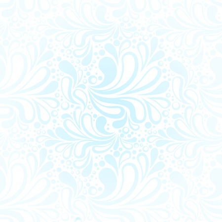 Repeating winter frost seamless pattern with cold blue swirls and curves Vector