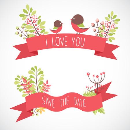 Elementos decorativos florales elegantes de la invitación de la boda y las tarjetas de la celebración del cumpleaños Ilustración de vector