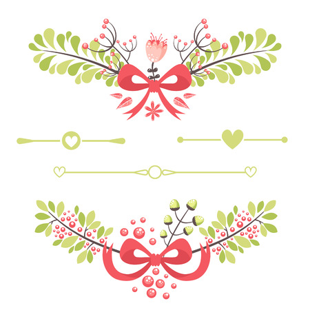 Elegant floral decorative elements for wedding invitation and birthday celebration cards Vector
