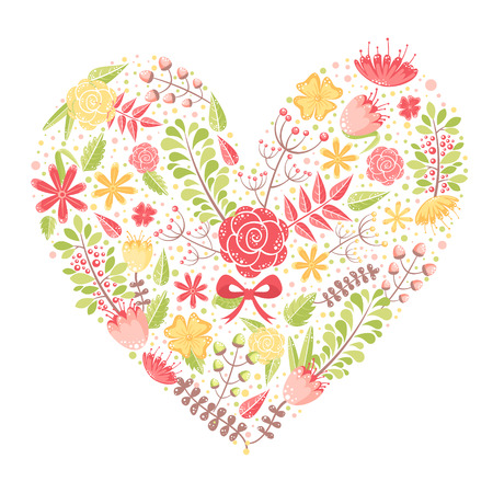 Beautiful flower heart postcard made of various floral elements with love