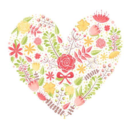 blumen verzierung: Sch�ne Blume Herz Postkarte von verschiedenen floralen Elementen mit Liebe gemacht