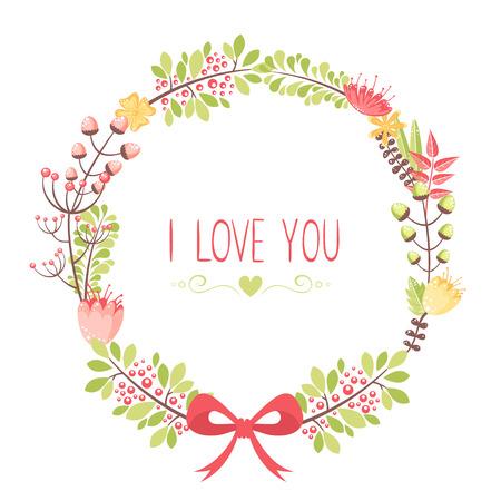 Elegant floral congratulation card for wedding and birthday invitations  イラスト・ベクター素材
