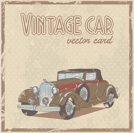 antique car: Retro 50s car stylish vintage postcard