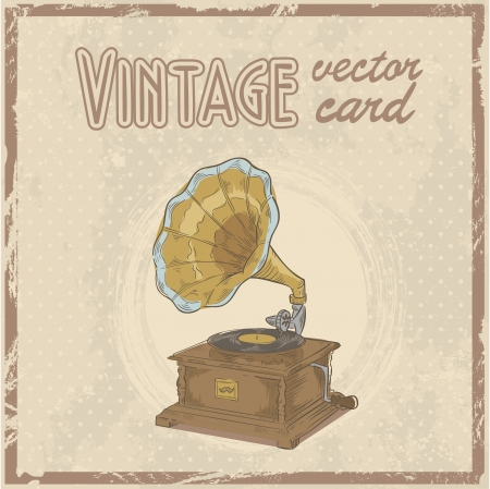 Retro 50s gramophone stylish vintage postcard