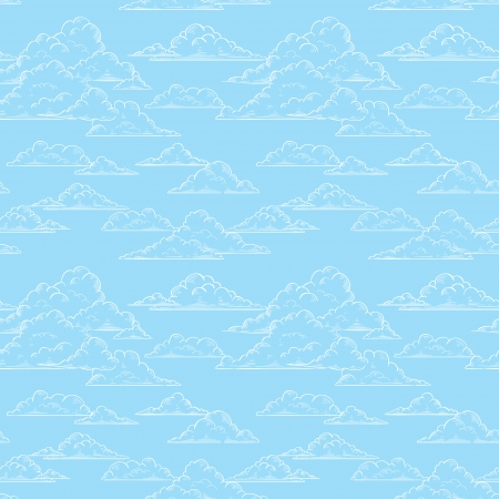 Clouds seamless pattern hand-drawn illustration Vector
