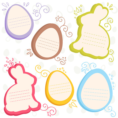 Easter bunny and eggs discount sale stickers Vector