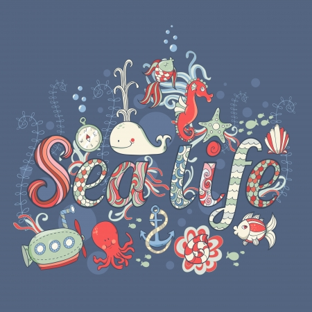 Cute fantasy summer sea card with underwater creatures Vector