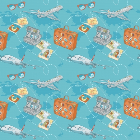 Travel seamless repeating pattern with plane, bag, camera and world map Vector
