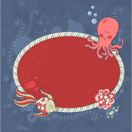 Cute nautical summer sea card with underwater creatures and sailor's knot  Vector