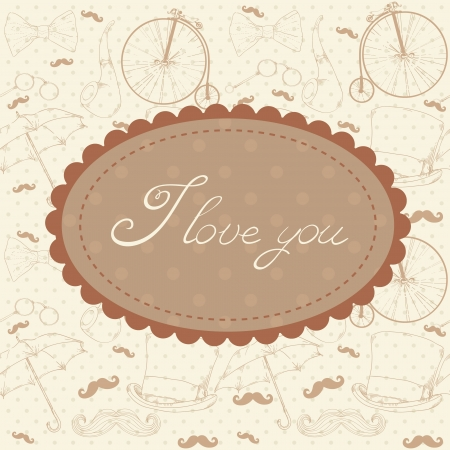 Romantic vintage Valentine invitation postcard Vector