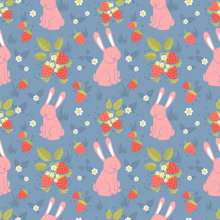 Cute rabbits and wild strawberries forest seamless pattern Vector