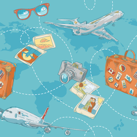 Travel seamless pattern with plane, bag, camera and world map Illustration