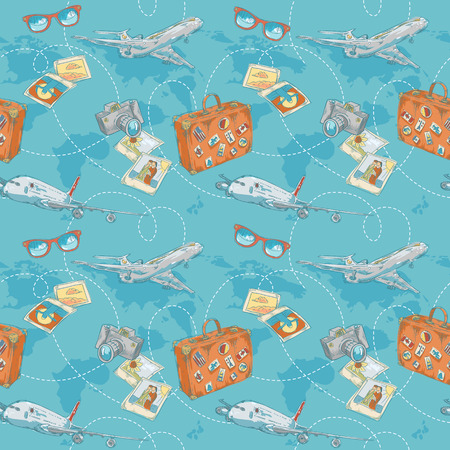 Travel seamless pattern with plane, bag, camera and world map Vector
