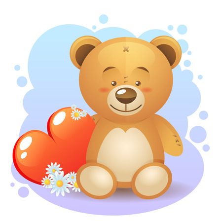 Cute teddy bear children toy with loving heart gift isolated Vector