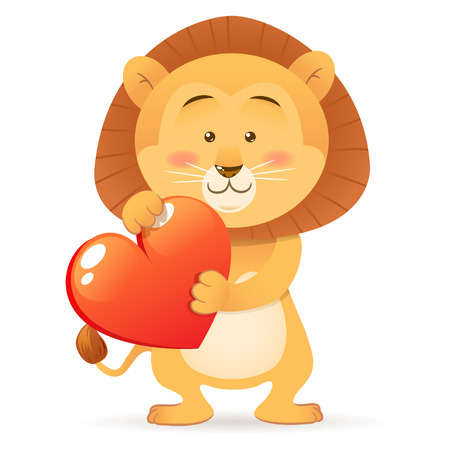 Cute toy Lion pet isolated holding heart in paws with love Vector