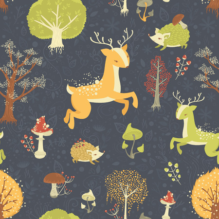 Magic forest seamless pattern with wild animals, trees and berries Vector