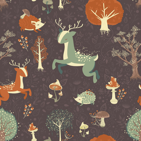 Magic forest seamless pattern with wild animals, trees and berries
