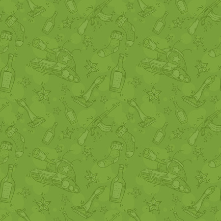 defender: Military seamless pattern for Victory Day or defender of Fatherland day 23 February with funny presents for men Illustration