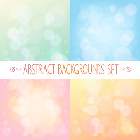 Abstract with bokeh gentle colorful set Illustration