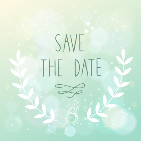 Save the date elegant wedding card with floral elements and hand lettering