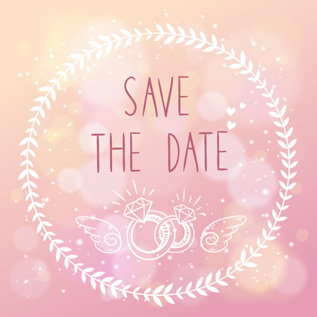 family holiday: Save the date elegant wedding card with floral elements and hand lettering