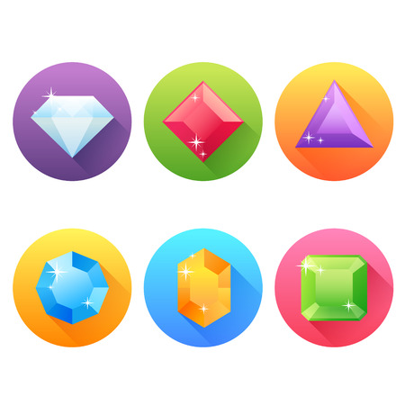 diamond stones: Set of flat icons with precious jewels and gems and drop shadow effect