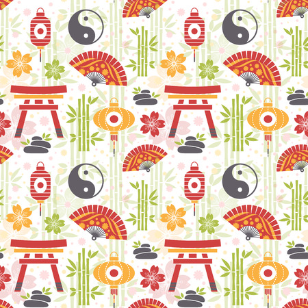 Oriental seamless pattern with asian symbols and objects Vector