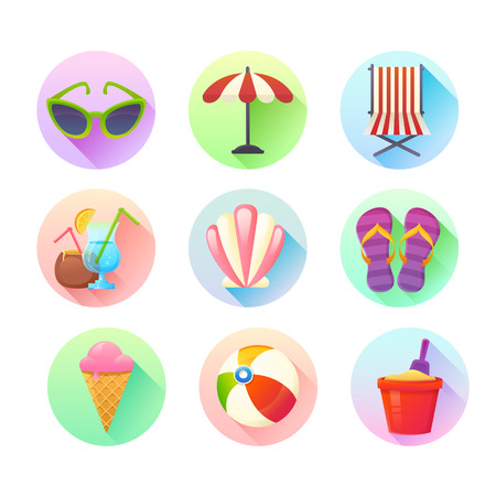 flip flop: Flat trendy summer colorful icons set with long drop shadow effect