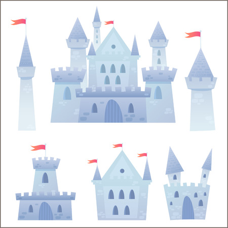 Cute cartoon vector medieval castle with fortress and set of towers