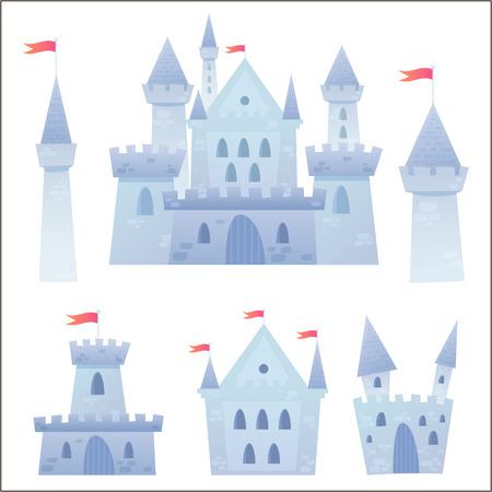 Cute Cartoon-Vektor mittelalterlichen Burg mit Festung und Satz von Türmen Standard-Bild - 29262770